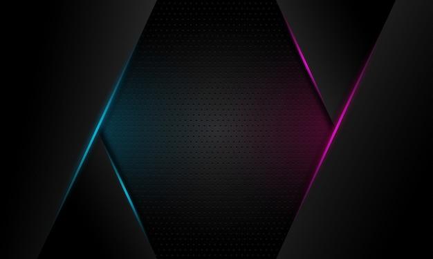 Linha de luz azul e violeta abstrata barra no escuro cinza espaço em branco design moderno futurista fundo Vetor Premium