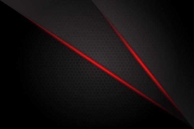 Linha de luz vermelha abstrata barra no escuro espaço em branco cinza design moderno fundo futurista Vetor Premium