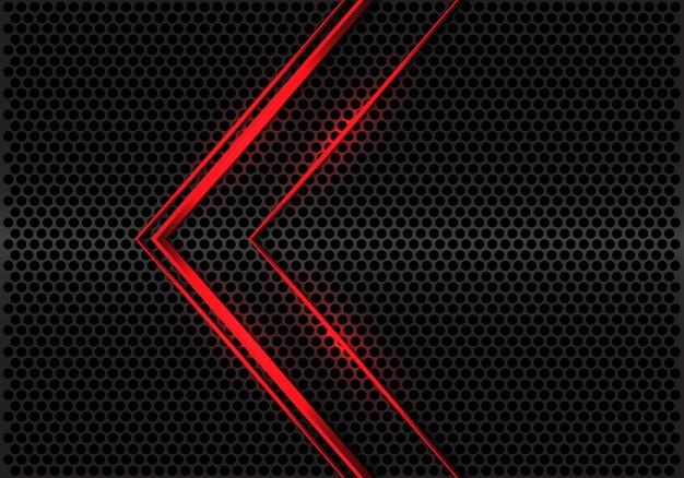 Linha de luz vermelha abstrata direção da seta no vetor futurista moderno do fundo do projeto metálico cinzento da malha do círculo. Vetor Premium