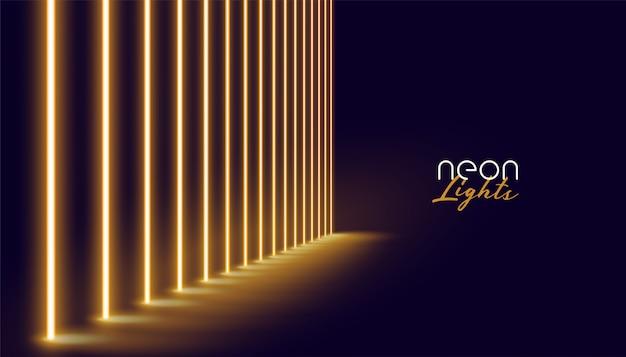 Linha de luzes de néon dourado brilhante Vetor grátis
