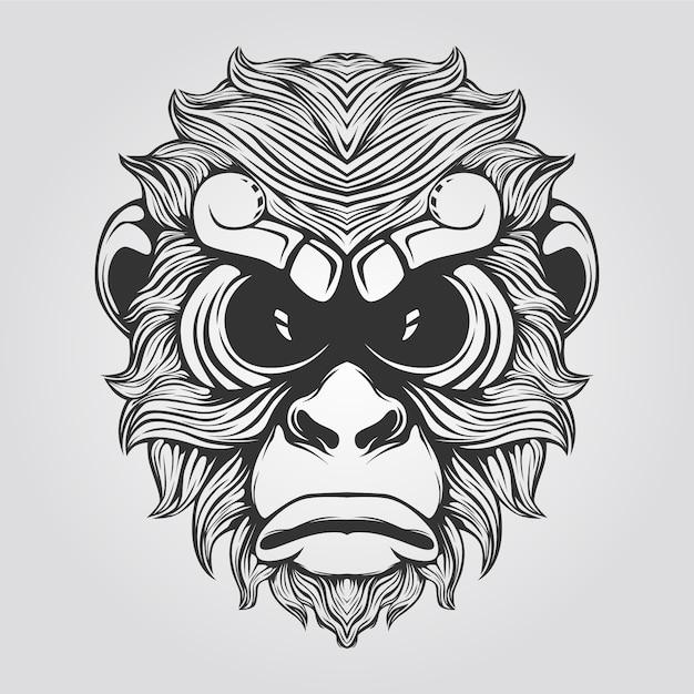 Linha de macaco na cor preto e branco Vetor Premium