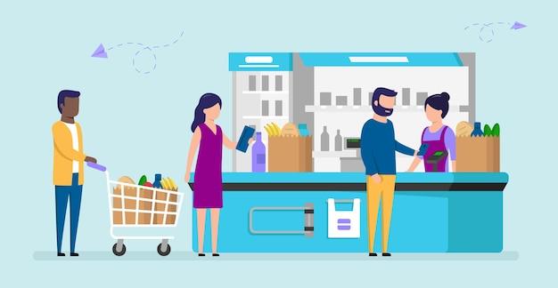 Linha de mercearia de pessoas diferentes no caixa. clientes de supermercado masculino e feminino comprando produtos, homem paga com smartphone, mulher segura carteira, outro homem com carrinho. Vetor Premium