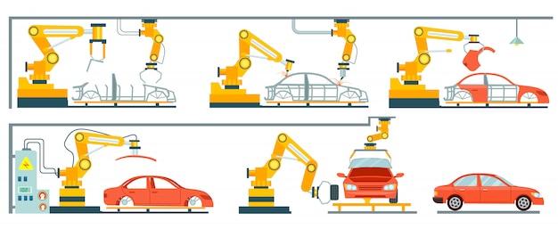 Linha de montagem automotiva robótica inteligente Vetor Premium
