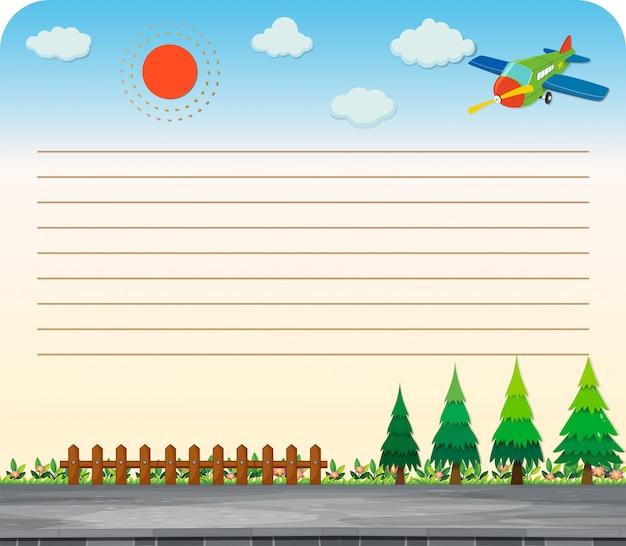 Linha de papel com parque e estrada Vetor grátis