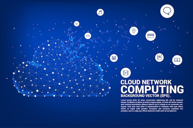 Linha de polígono de tecnologia de rede de computação em nuvem conectado linha com ícone Vetor Premium