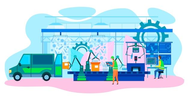 Linha de produção de fábrica robótica futurista dos desenhos animados Vetor Premium