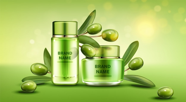 Linha de produtos de beleza natural de garrafas de azeite Vetor grátis