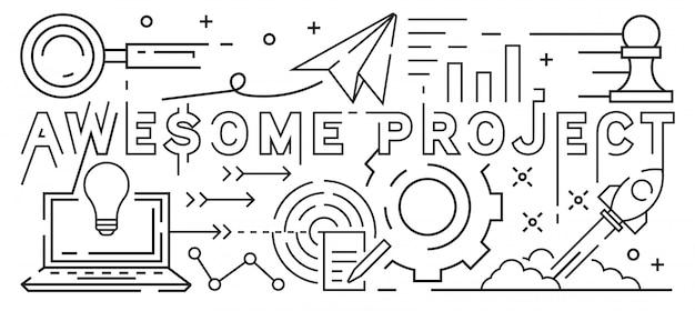 Linha de projeto impressionante art design Vetor Premium