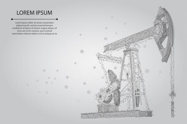 Linha de purê abstrata e equipamento de poço de petróleo de ponto. torres de pumpjack da indústria de combustível de petróleo de baixo poli que bombeiam o ponto de perfuração Vetor Premium