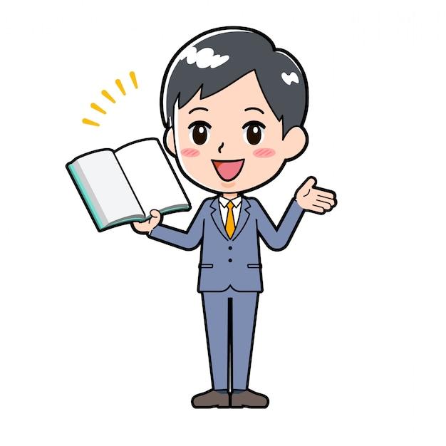 Linha de saída empresário livro apresentação Vetor Premium
