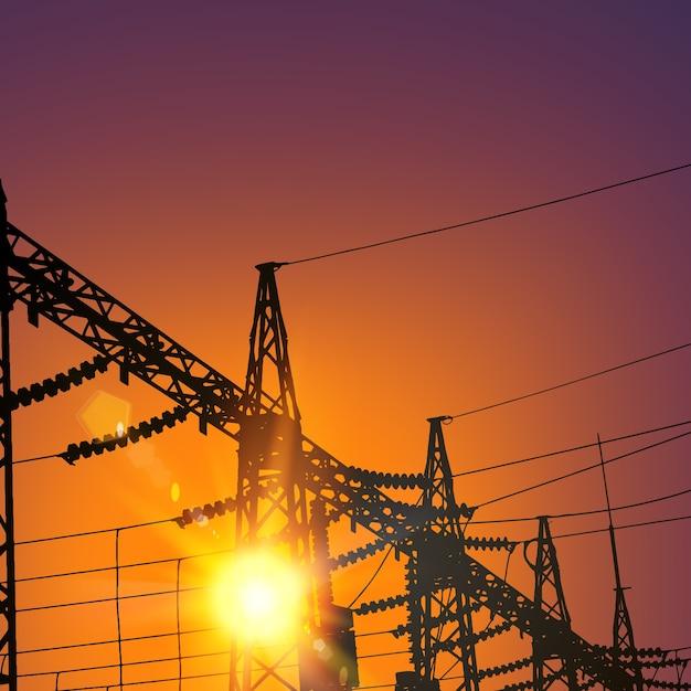 Linha de transmissão elétrica no pôr do sol. Vetor grátis