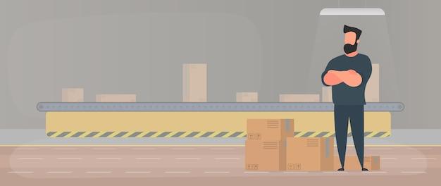 Linha de transporte com caixas. um homem fica de pé com caixas de papelão. . Vetor Premium