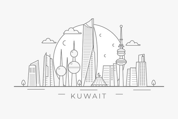 Linha do horizonte linear kuwait Vetor grátis