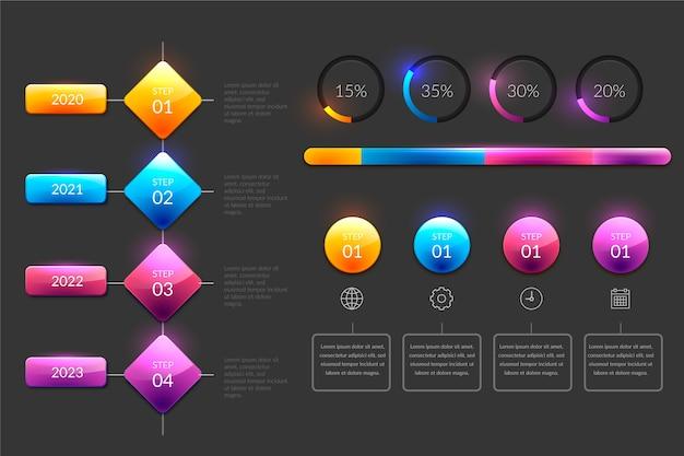 Linha do tempo brilhante no design realista Vetor grátis