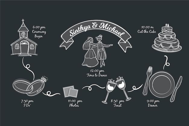 Linha do tempo casamento estilo desenhado à mão Vetor grátis