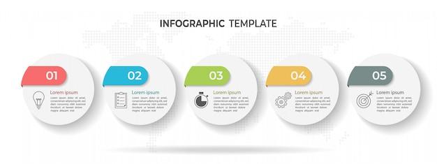 Linha do tempo círculo infográfico modelo 5 opções ou etapas. Vetor Premium