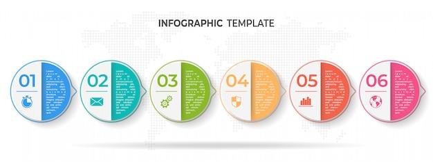 Linha do tempo círculo infográfico modelo 6 opções ou etapas. Vetor Premium