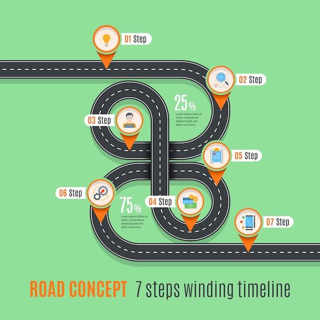 Linha do tempo conceito de estrada, gráfico infográfico Vetor Premium