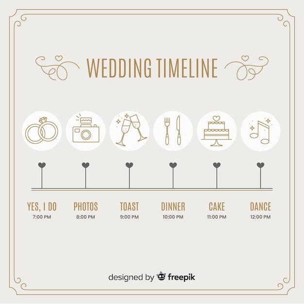 Linha do tempo do casamento em estilo linear Vetor grátis