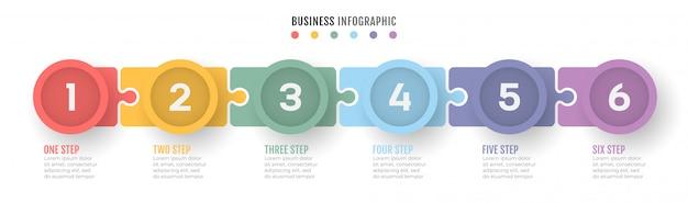 Linha do tempo do processo de negócios infográficos com 6 etapas. Vetor Premium