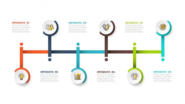 Linha do tempo infográfico conept design com ícones de marketing. conceito de negócio com 6 etapas, opções, processos. ilustração vetorial Vetor Premium