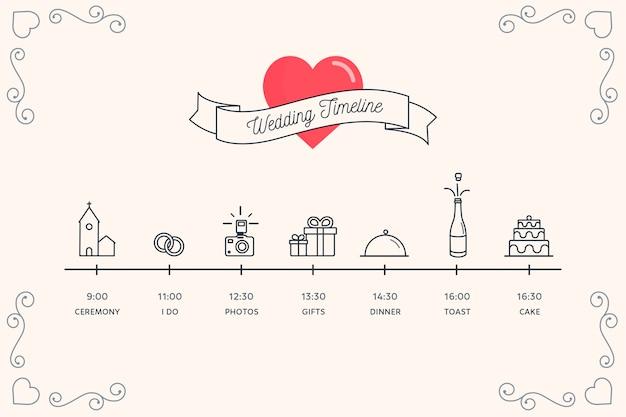 Linha do tempo para o casamento no estilo linear Vetor grátis