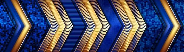 Linha dourada de luxo abstrata com fundo de decoração de modelo azul claro Vetor Premium