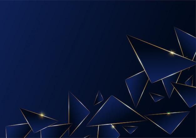 Linha dourada de luxo padrão poligonal abstrata Vetor Premium