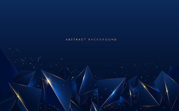 Linha dourada luxo abstrato baixo padrão poligonal com fundo azul marinho escuro. Vetor Premium