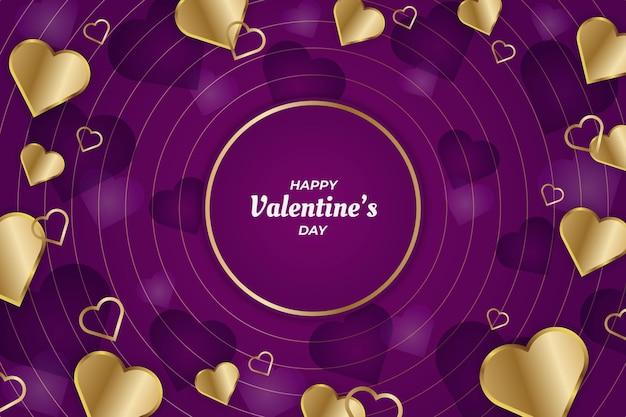 Linha elegante do círculo do dia dos namorados com fundo dourado e roxo Vetor Premium