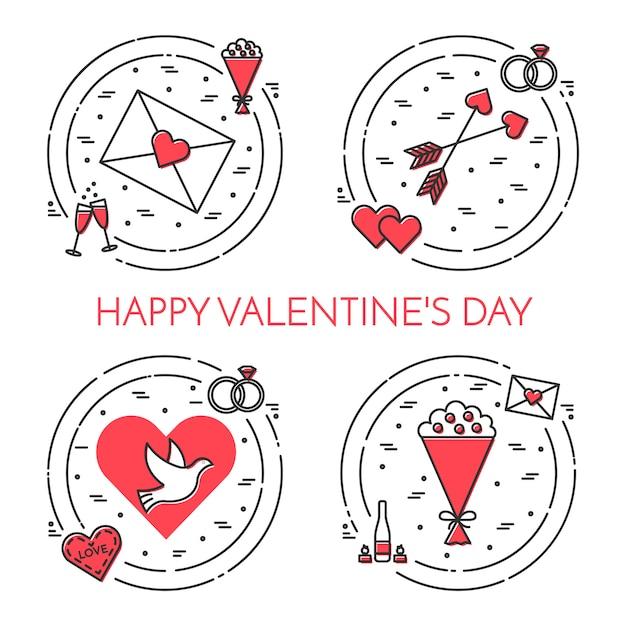 Linha fina bandeira de ícones para dia dos namorados e tema de data. Vetor Premium