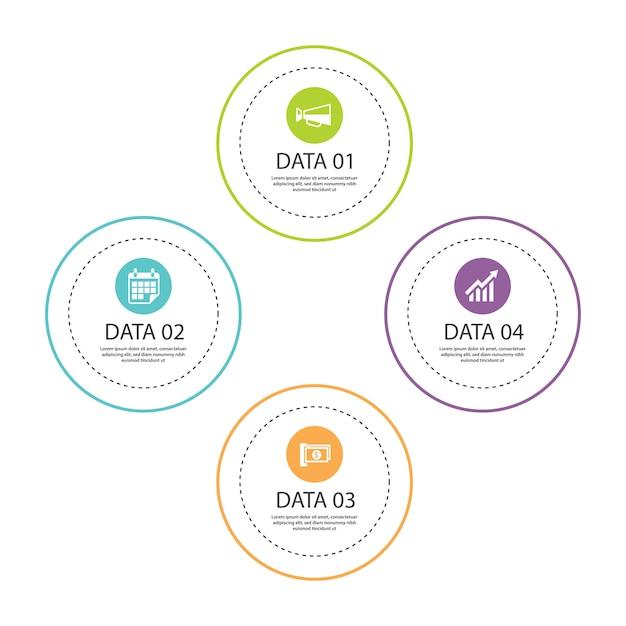 Linha fina de círculo de infográficos com 4 modelos de dados Vetor Premium
