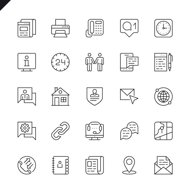 Linha fina entre em contato conosco conjunto de ícones Vetor Premium