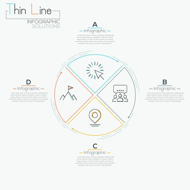 Linha fina mínima seta negócios infográfico pizza círculo modelo Vetor Premium