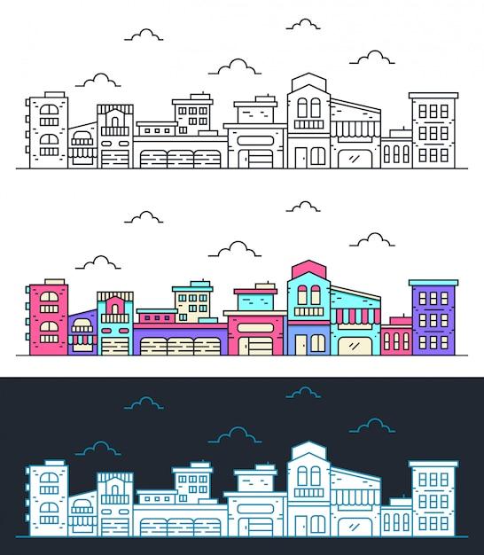 Linha fina paisagem da cidade Vetor Premium