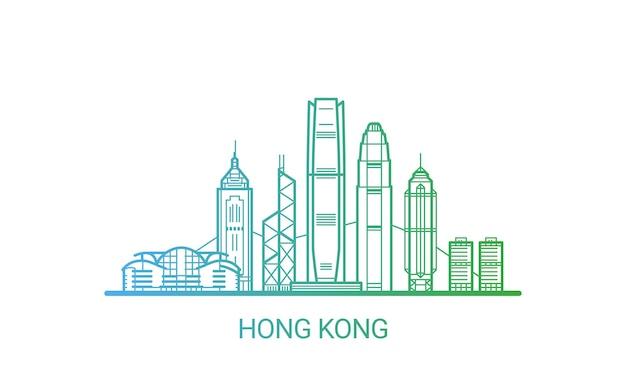 Linha gradiente colorida da cidade de hong kong Vetor Premium