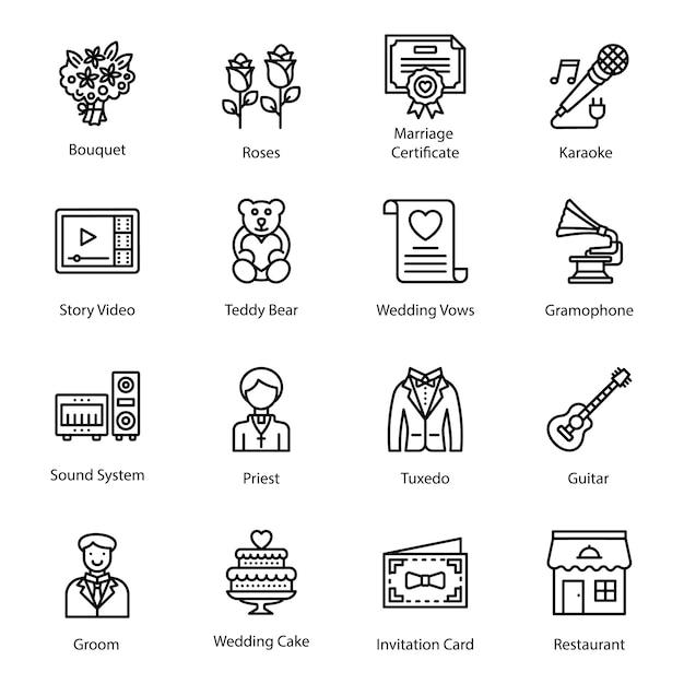 Linha ícones de casamento Vetor Premium
