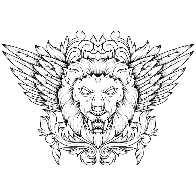 Linha ilustração da arte de uma cabeça mítica voada dourada do leão. Vetor Premium