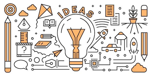 Linha lisa startup de projeto conceito de projeto. elementos de inicialização doodle geométrica. Vetor Premium