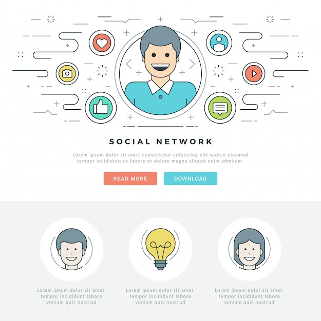Linha plana conceito de mídia social e design de ícones de estilo de linha. Vetor Premium