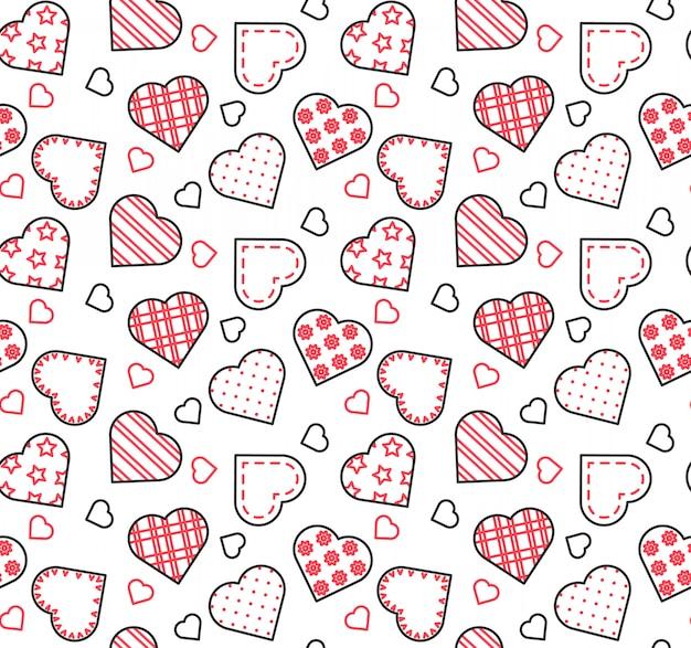 Linha preta, branca e vermelha sem costura padrão para dia dos namorados, amor, tema de data. Vetor Premium