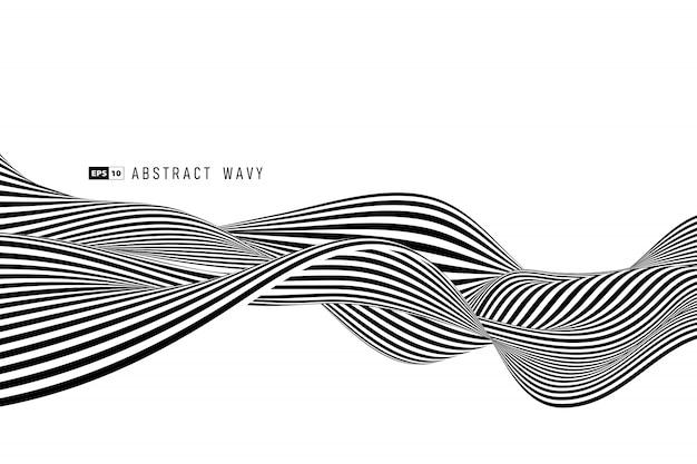 Linha preto e branco abstrata listra mínima fundo da decoração. Vetor Premium