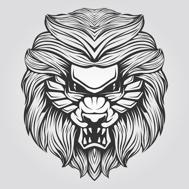 Linha preto e branco de leão abstrato Vetor Premium