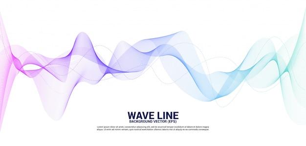 Linha roxa e azul curva da onda sadia no fundo branco. Vetor Premium