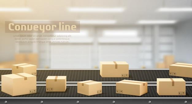 Linha transportadora com vista lateral de caixas de papelão, correia de produção de processamento industrial, equipamento de engenharia de manufatura automatizado na área da fábrica fundo desfocado Vetor grátis