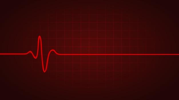 Linha vermelha mostra a freqüência cardíaca enquanto morto no gráfico do monitor Vetor Premium