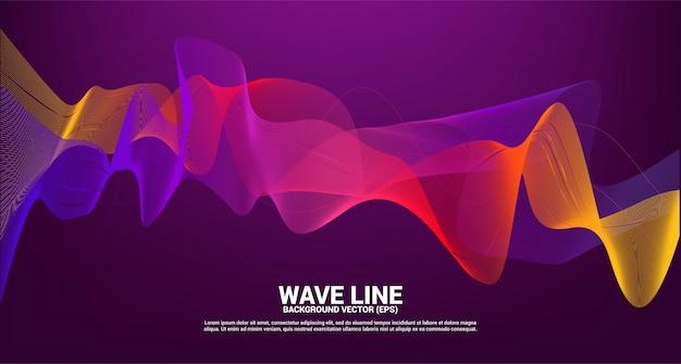 Linha vermelha roxa da onda sonora curva no fundo escuro. elemento para o vetor futurista de tecnologia de tema Vetor Premium