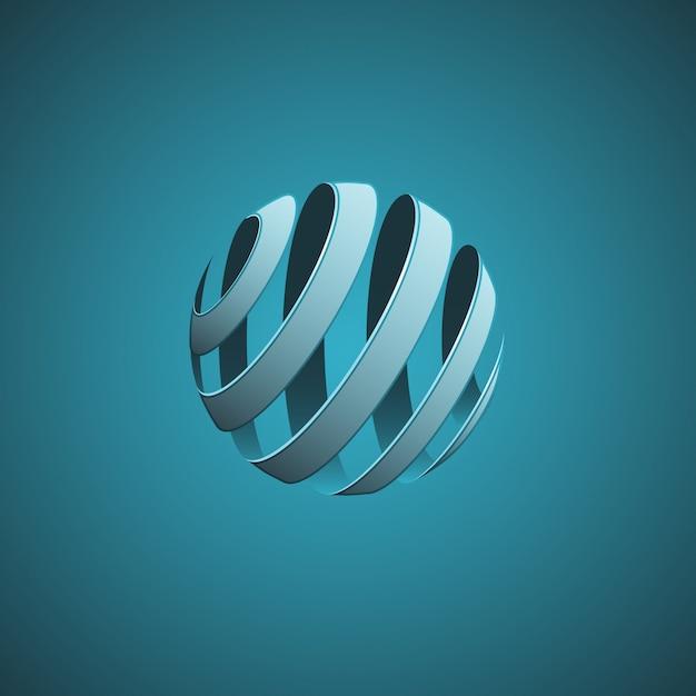 Linhas abstratas de esfera espiral Vetor Premium