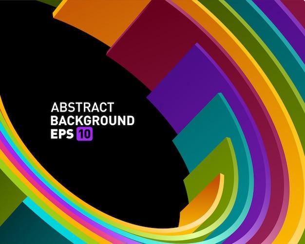 Linhas abstratas do círculo 3d no fundo moderno do vetor da perspectiva. Vetor Premium