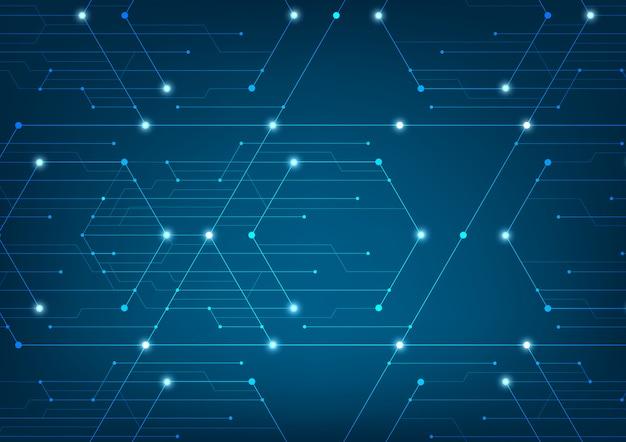 Linhas abstratas e pontos se conectam Vetor Premium